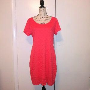 NEW Isaac Mizrahi Coral Lace Overlay Sheath Dress